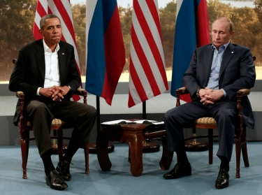 U.S. President Barack Obama (left) meets with Russian President Vladimir Putin during the G8 Summit at Lough Erne in Enniskillen, Northern Ireland, June 17, 2013