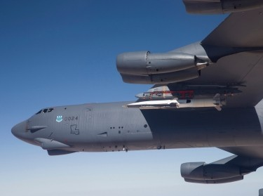A U.S. Air Force B-52 carries the X-51 Hypersonic Vehicle for a launch test from Edwards AFB, California, May 1, 2013