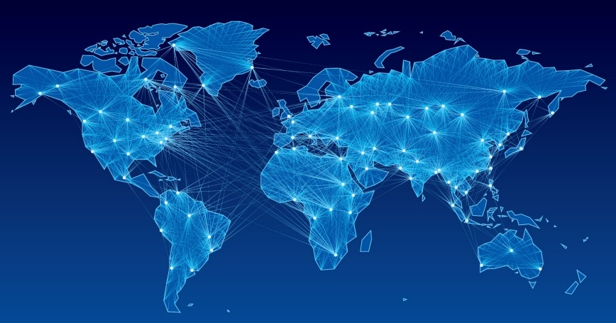 World map with global communication lines.