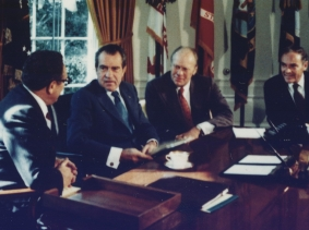 President Richard M. Nixon meeting in the Oval Office with Vice President Gerald R. Ford, Secretary of State Henry A. Kissinger, and Chief of Staff Alexander Haig, 1973