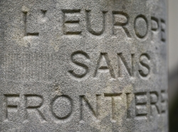 A memorial stone for the Schengen Agreement is seen in the small village of Schengen, Luxembourg January 27, 2016