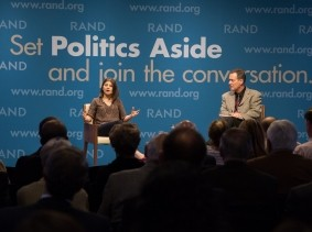 Nidhi Kalra and Timothy Bonds at RAND's Politics Aside event in Santa Monica, November 12, 2016