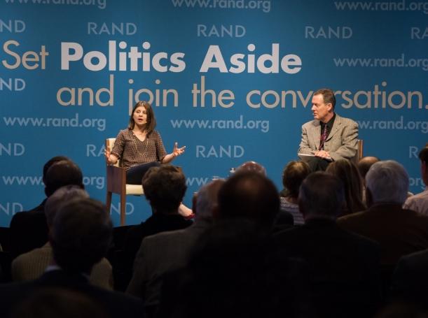Nidhi Kalra and Timothy Bonds at RAND's Politics Aside event in Santa Monica, November 12, 2016