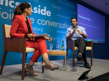 Journalist Soledad O'Brien and DJ Patil, the United States' chief data scientist, at RAND's Politics Aside event in Santa Monica, November 11, 2016