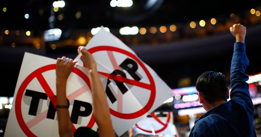Delegates protest the Trans-Pacific Partnership (TPP) agreement at the Democratic National Convention in Philadelphia, Pennsylvania, July 25, 2016