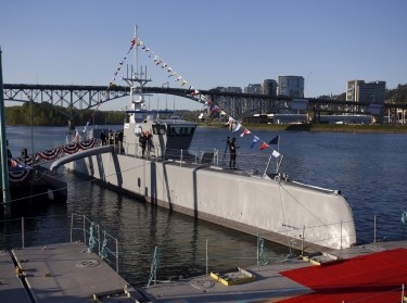 "The autonomous ship ""Sea Hunter"" is shown docked in Portland, Oregon before its christening ceremony April 7, 2016"