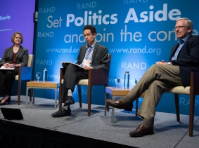 NSC Senior Director Maren Brooks, journalist Malcolm Gladwell, and Amb. Charles Ries at RAND's Politics Aside event in Santa Monica, November 12, 2016