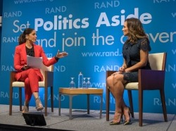 Journalist Soledad O'Brien and Leslie Sanchez, CBSN political analyst and contributor, at RAND's Politics Aside event in Santa Monica, November 11, 2016