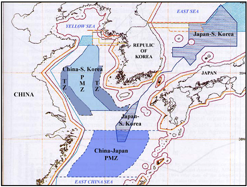 Map: Agreed Fishing Zones of Sino-Japan and Sino-Korean Fisheries Agreements