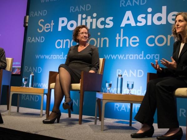 Malcolm Gladwell, V. Darleen Opfer, and Laura Hamilton at RAND's Politics Aside event in Santa Monica, November 12, 2016