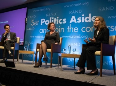 Malcolm Gladwell, V. Darleen Opfer, and Laura Hamilton at RAND's Politics Aside event in Santa Monica, November 12, 2016