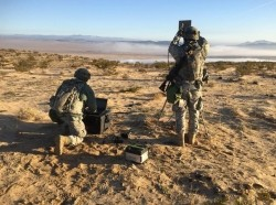 Soldiers conduct cyberspace operations during a training rotation at the National Training Center at Fort Irwin, California, January 24, 2016