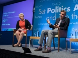 Susan Dentzer, Eric Topol, and Mark Friedberg at RAND's Politics Aside event in Santa Monica, November 12, 2016