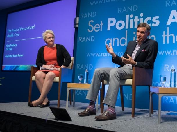 Susan Dentzer, Eric Topol, and Mark Friedberg at RAND's Politics Aside event in Santa Monica, November 12, 2016
