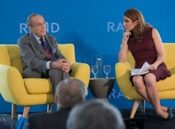 Former Secretary of Defense William J. Perry and CFR Senior Fellow Gayle Tzemach Lemmon at RAND's Politics Aside event in Santa Monica, November 12, 2016