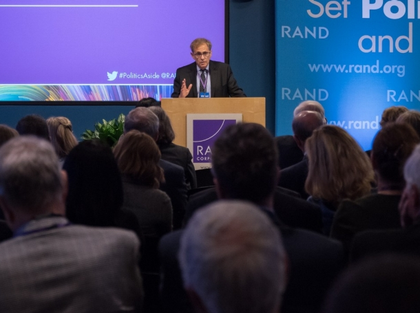 President and CEO Michael Rich speaking at RAND's Politics Aside event in Santa Monica, November 11, 2016