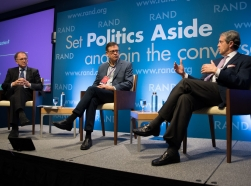 Antoine van Agtmael, Lawrence Ingrassia, and Randal Quarles at RAND's Politics Aside event in Santa Monica, November 12, 2016