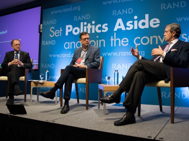 Antoine van Agtmael, Lawrence Ingrassia, and Randal Quarles at RAND's Politics Aside event in Santa Monica, November 12, 2016