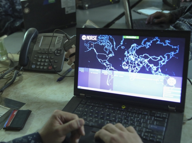 A sailor opens a network monitoring program during an exercise at Marine Corps Air Station Miramar, California, August 22, 2016