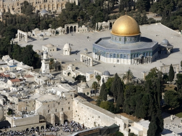 The Dome of the Rock on the compound known to Muslims as the Noble Sanctuary and to Jews as Temple Mount, and the Western Wall in Jerusalem's Old City, October 10, 2006