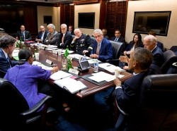 President Barack Obama meets with members of the National Security Council in the Situation Room of the White House, September 10, 2014