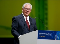 ExxonMobil Chairman and CEO Rex Tillerson speaks during the 26th World Gas Conference in Paris, France, June 2, 2015.