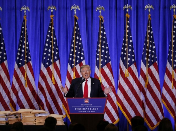U.S. President-elect Donald Trump speaks during a news conference in the lobby of Trump Tower in New York City, January 11, 2017