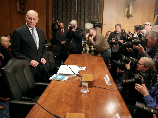 Retired General John Kelly arrives to testify before a Senate Homeland Security and Governmental Affairs Committee confirmation hearing on his nomination to be Secretary of the Department of Homeland Security, January 10, 2017