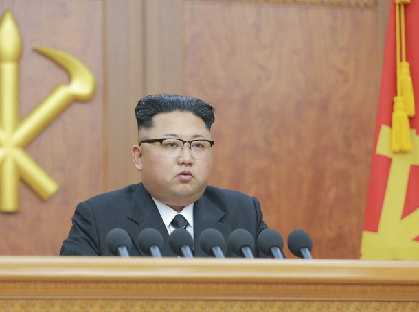 North Korean leader Kim Jong Un gives a New Year address in Pyongyang on January 1, 2017