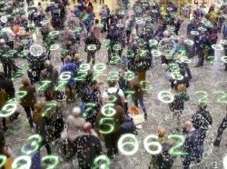 Binary code bursts from phones held by a crowd of people with an overlay of glowing electronic numbers