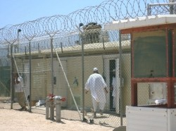 In Camp 4 of Camp Delta at Naval Station Guantanamo Bay, Cuba, highly compliant detainees live in a communal setting