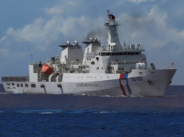 Taiwanese Coast Guard patrol ship, Kaohsiung (CG 129), during a rescue drill near the coast of Itu Aba in the South China Sea, November 29, 2016