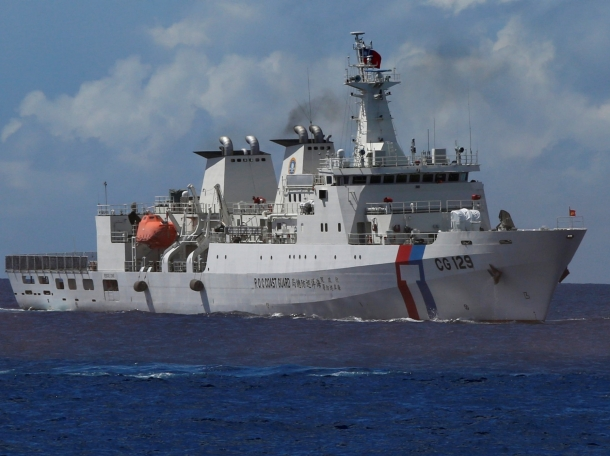 Taiwanese Coast Guard patrol ship, Kaohsiung (CG 129), during a rescue drill near the coast of Itu Aba in the South China Sea, November 29, 2016