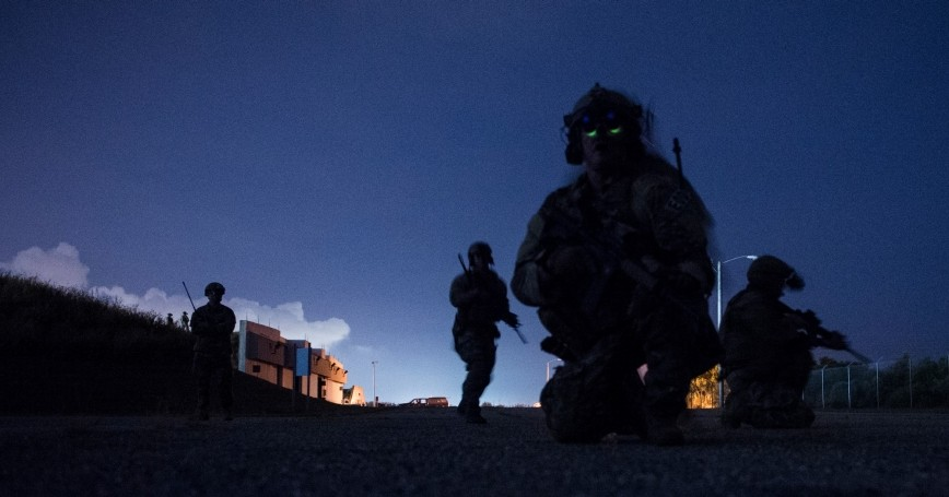 U.S. Army and U.S. Air Force special forces personnel participate in a training exercise at Naval Station Pascagoula, Mississippi, October 26, 2016
