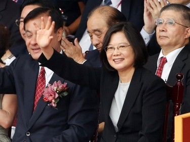 Taiwanese President Tsai Ing-wen waves during National Day celebrations in Taipei, Taiwan, October 10, 2016