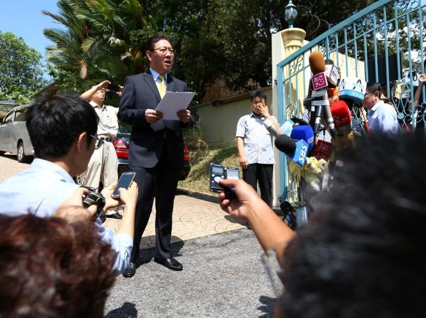 North Korean ambassador to Malaysia Kang Chol speaks during a news conference regarding the apparent assassination of Kim Jong Nam at the North Korean embassy in Kuala Lumpur, Malaysia, February 20, 2017