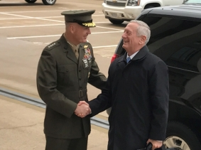 New U.S. Defense Secretary James Mattis is greeted by Marine General Joseph Dunford, chairman of the Joint Chiefs of Staff, as he arrives at the Pentagon outside Washington, U.S.,  January 21, 2017