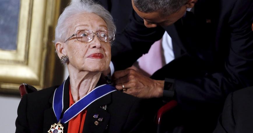 U.S. President Barack Obama presents the Presidential Medal of Freedom to NASA mathematician Katherine G. Johnson, November 24, 2015