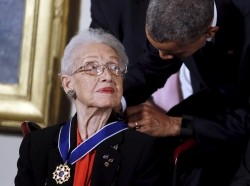 U.S. President Barack Obama presents the Presidential Medal of Freedom to NASA mathematician Katherine G. Johnson, November 24, 2015