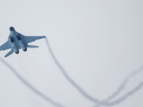 A new multi-role Russian MiG-35 fighter flies during its international presentation at the MiG plant in Lukhovitsy outside Moscow, Russia January 27, 2017.