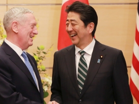 U.S. Defense Secretary James Mattis and Japanese Prime Minister Shinzo Abe shake hands at the prime minister's office in Tokyo, Japan, February 3, 2017