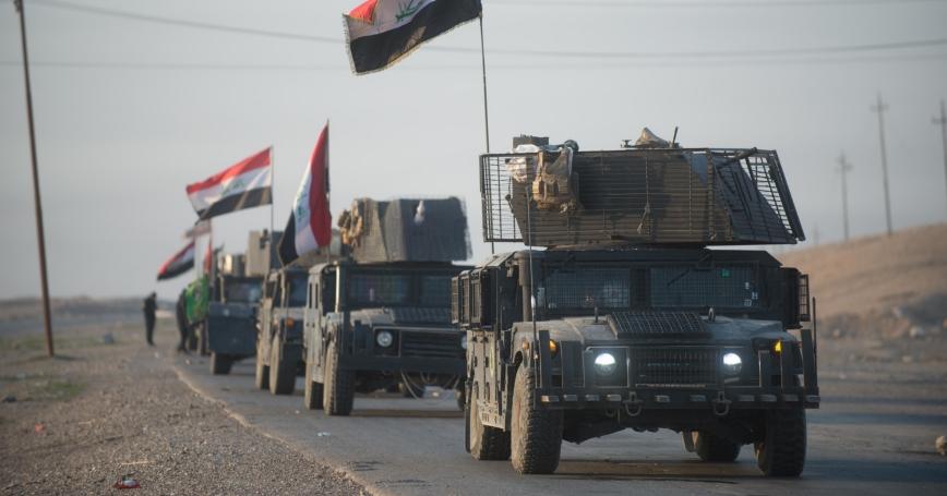 An Iraqi Counter Terrorism Service convoy moves towards Mosul, Iraq, February 23, 2017