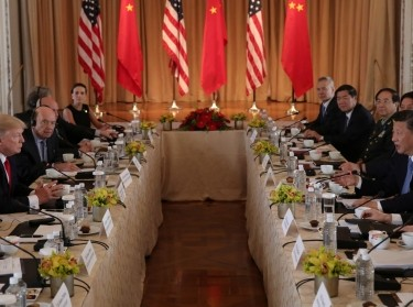 U.S. President Donald Trump holds a bilateral meeting with China's President Xi Jinping at Trump's Mar-a-Lago estate in Palm Beach, Florida, U.S., April 7, 2017