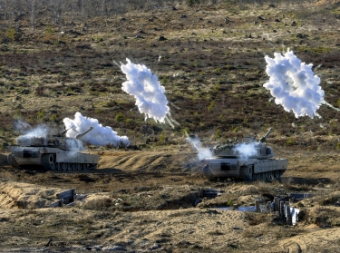 Estonian and U.S. soldiers conduct live-fire training during a combat exercise near Tapa, Estonia, April 6, 2017