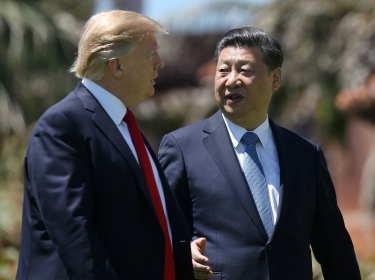 U.S. President Donald Trump and China's President Xi Jinping at the Mar-a-Lago estate after a bilateral meeting in Palm Beach, Florida, April 7, 2017
