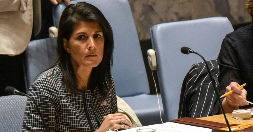 U.S. Ambassador to the United Nations Nikki Haley prepares to speak at a Security Council meeting on the situation in Syria at the U.N. Headquarters in New York, April 12, 2017