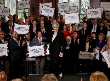 British Prime Minister Theresa May delivers a speech to Conservative Party members in Walmsley Parish Hall in Bolton, April 19, 2017