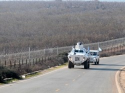 Peacekeepers of the United Nations Interim Force in Lebanon patrol the Lebanese-Israeli border, January 19, 2015