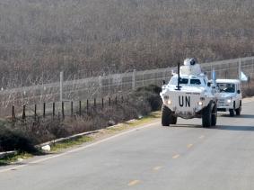 Peacekeepers of the United Nations Interim Force in Lebanon patrol the Lebanese-Israeli border, January 19, 2015