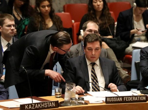 Russian Deputy Ambassador to the United Nations Vladimir Safronkov (right) attends a meeting on Syria at U.N. headquarters in New York City, April 5, 2017